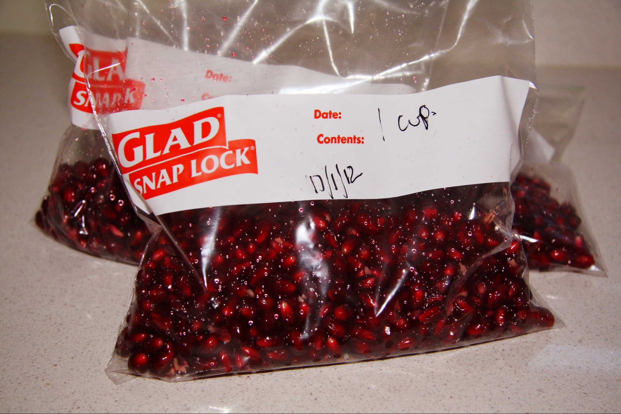 ... pomegranates place 1 cup measurements into ziplock bags and freeze